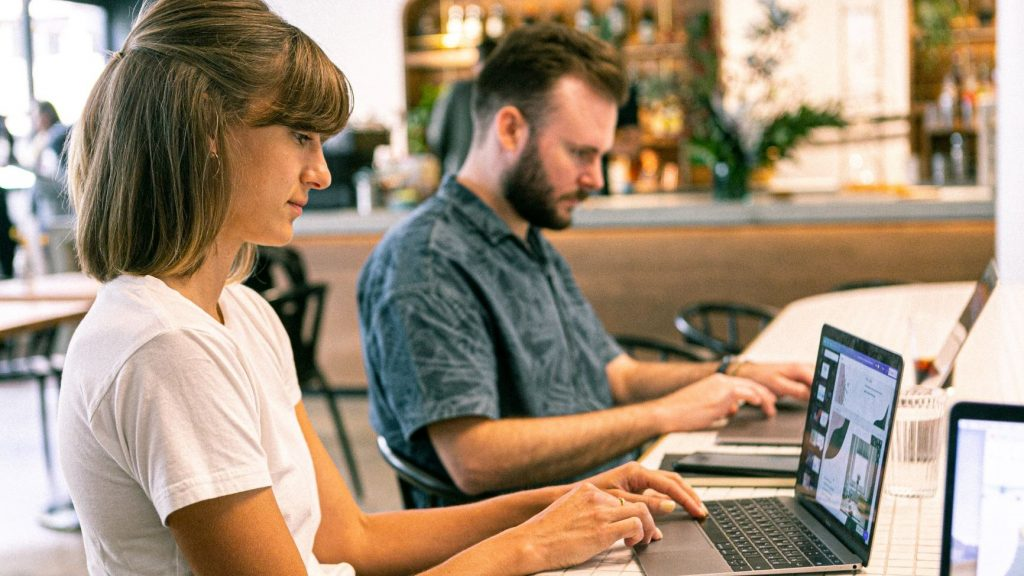 two freelancers working on their businesses